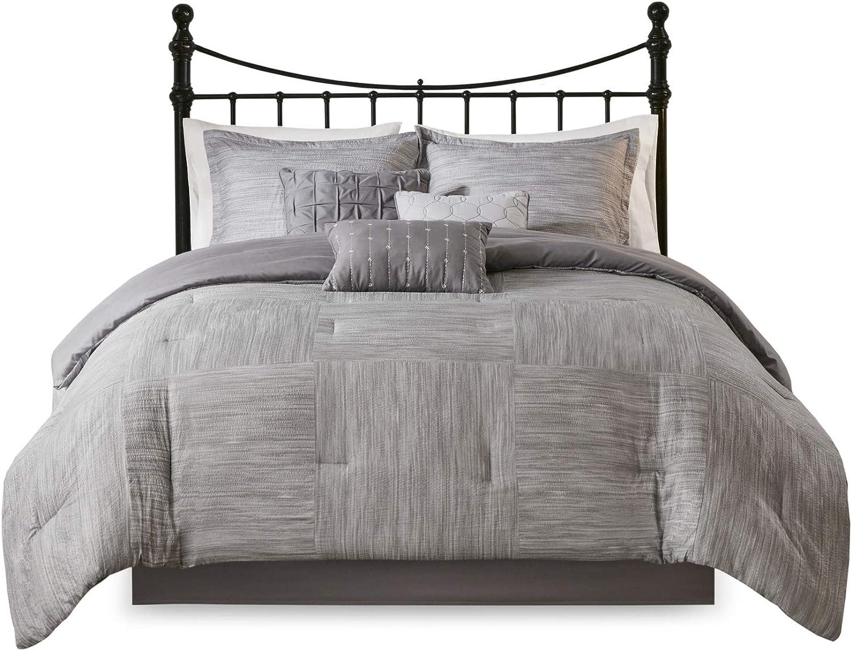 Seersucker Print Modern Luxe All Season Down Alternative Bed Set with Bedskirt Grey 7 Piece Decorative Pillows Queen Matching Shams 90x90 Madison Park Walter Microfiber Comforter