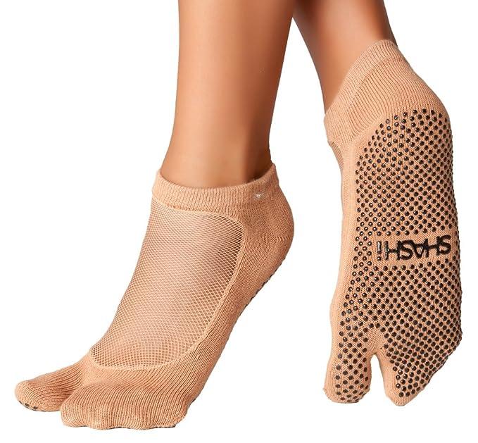 Shashi malla antideslizante ergonómico con separación de dedos calcetines Pilates Barre Ballet Yoga danza - Marrón