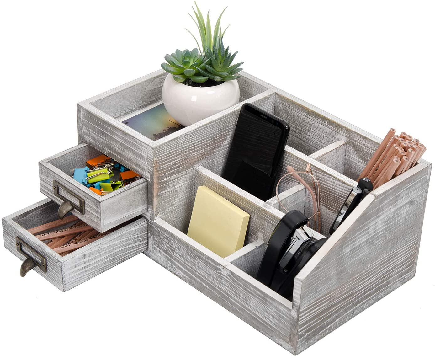 Distressed Rustic Wooden Office Desktop Organizer Wood Shelf Tabletop Home Organizer Storage with Multiple Compartments 2 Tier Drawers,perfect Jewelry storage Display Box for Desk, Vanity (gray)