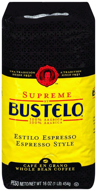 Supreme by Bustelo Whole Bean Espresso Coffee, 16-Ounce Bag (1 Pound)
