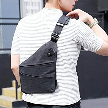 62765694199e Amazon.com: Theftproof Magnetic Button Open Canvas Mens Chest Bags ...