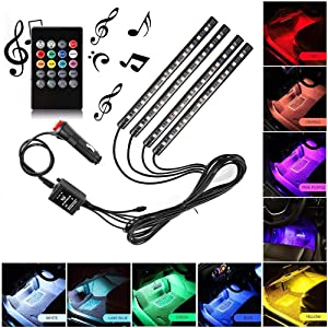 Y&HCar LED Strip Light, 4pcs 48 LED DC 12V Multicolor Music Car Interior Light LED Under Dash Lighting Kit with Sound Active Function, Wireless Remote Control, Car Charger