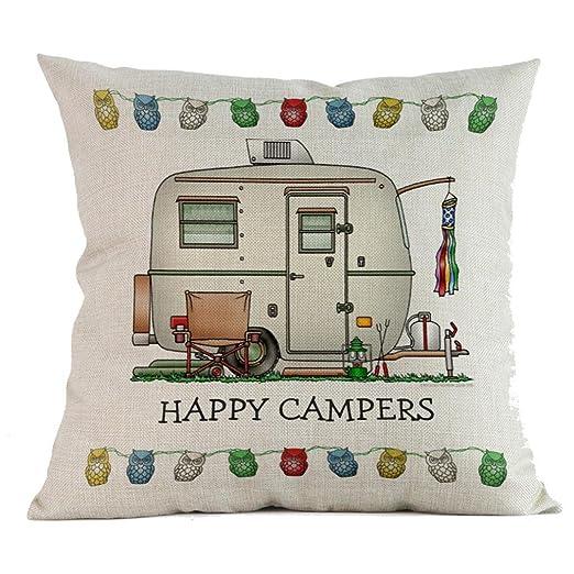 Fundas de cojín, HEHEM Happy Campers, Funda de Almohada de ...
