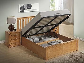 Kensington Oak Colour Wooden Storage/Ottoman Bed Frame - (Kingsize) & Kensington Oak Colour Wooden Storage/Ottoman Bed Frame - (Kingsize ...