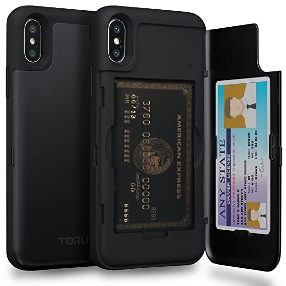 new product 64b92 f8bdd TORU CX PRO iPhone Xs Wallet Case with Hidden Credit Card Holder ID Slot  Hard Cover & Mirror for Apple iPhone Xs (2018) / iPhone X (2017) - Matte ...