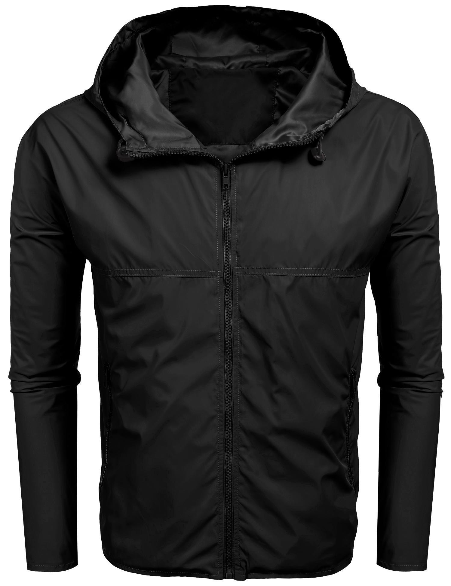 BULGES Men's Front-Zip Lightweight Windproof Jacket Quick Dry Hoodie Raincoat