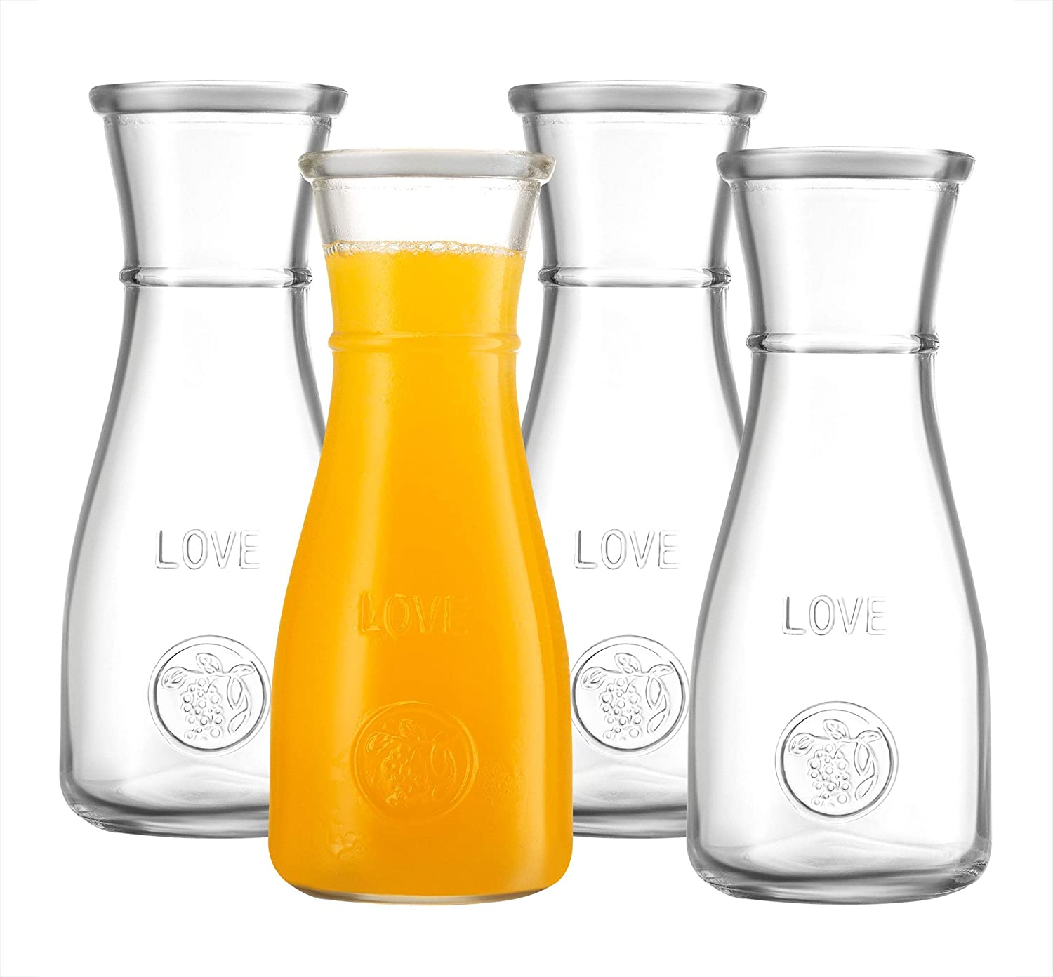 Small Personal Glass Carafe, 350ml – 4 Pack – Single Serve Elegant Wine Decanter and LOVE Drink Pitcher - Narrow Neck Comfortable Grip, Easy Pouring Wide Mouth - for Parties and Events – Kitchen Lux.