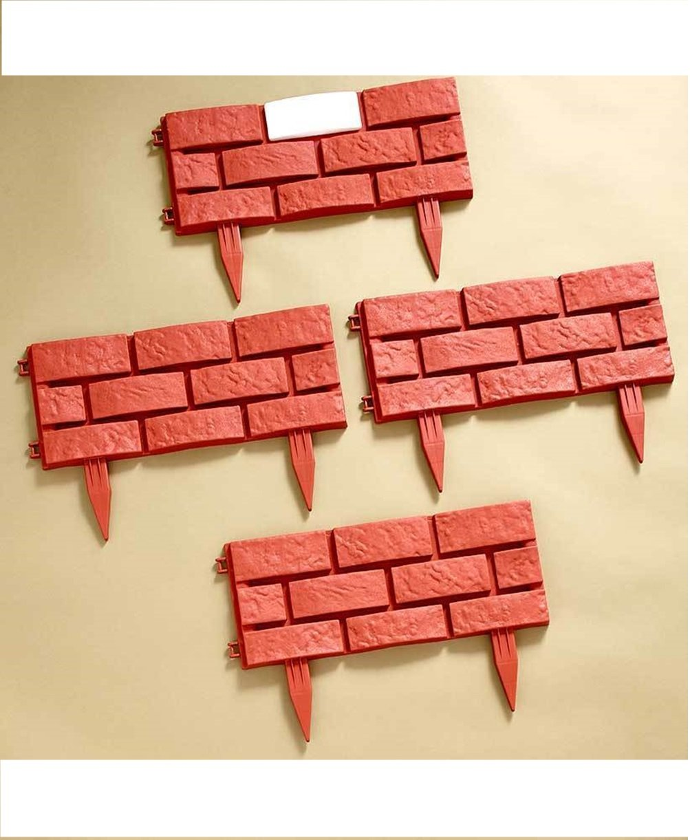 Pro-G 4 Panals Solar Lighted Brick-Look Border Removable Stakes Surround Gardent Tree Decor Edging-Yard