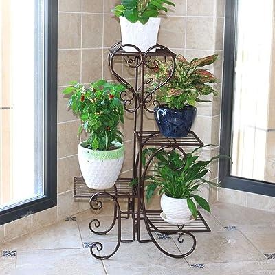 LRW Red Creative Flower Rack Multi-Storey Indoor Space-Saving Iron Balcony Living Room Floor Vertical Flower Rack: Garden & Outdoor