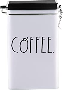 Home Essentials Tin Coffee Storage Box with Locking Lid, 8-Inches High