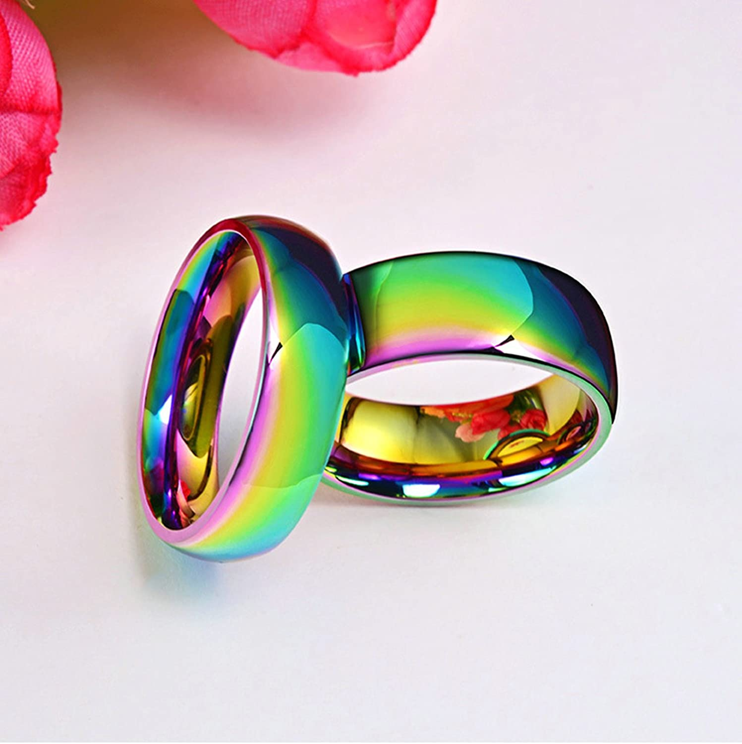 Bishilin Stainless Steel Rings for Men High Polished Round Width 8 Mm Wedding Bands for Him Size 9