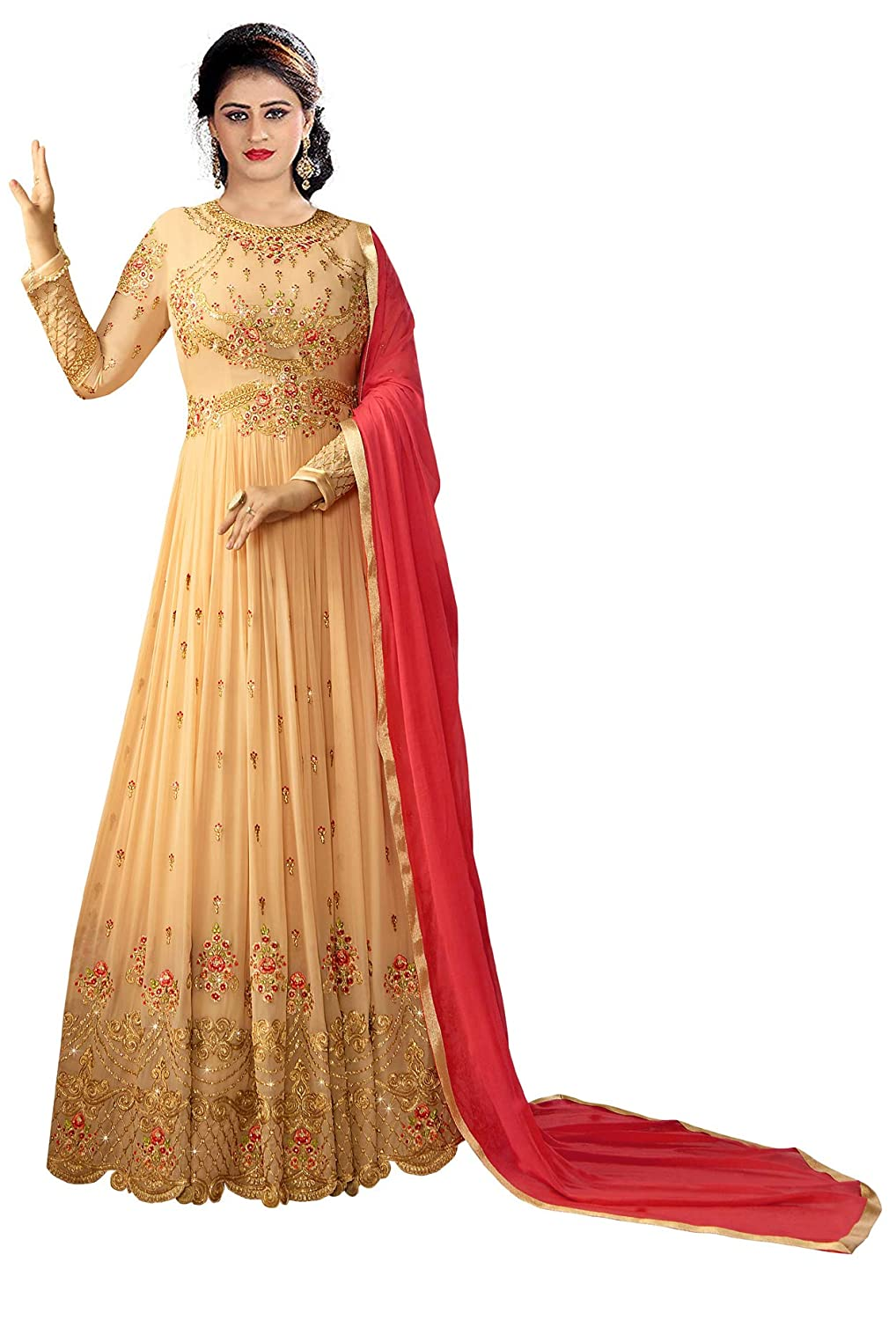 e26d5428688 Ethnic Yard Womens Faux Georgette Anarkali Embroidered Semi Stitched  Salwarsuit  Amazon.in  Clothing   Accessories