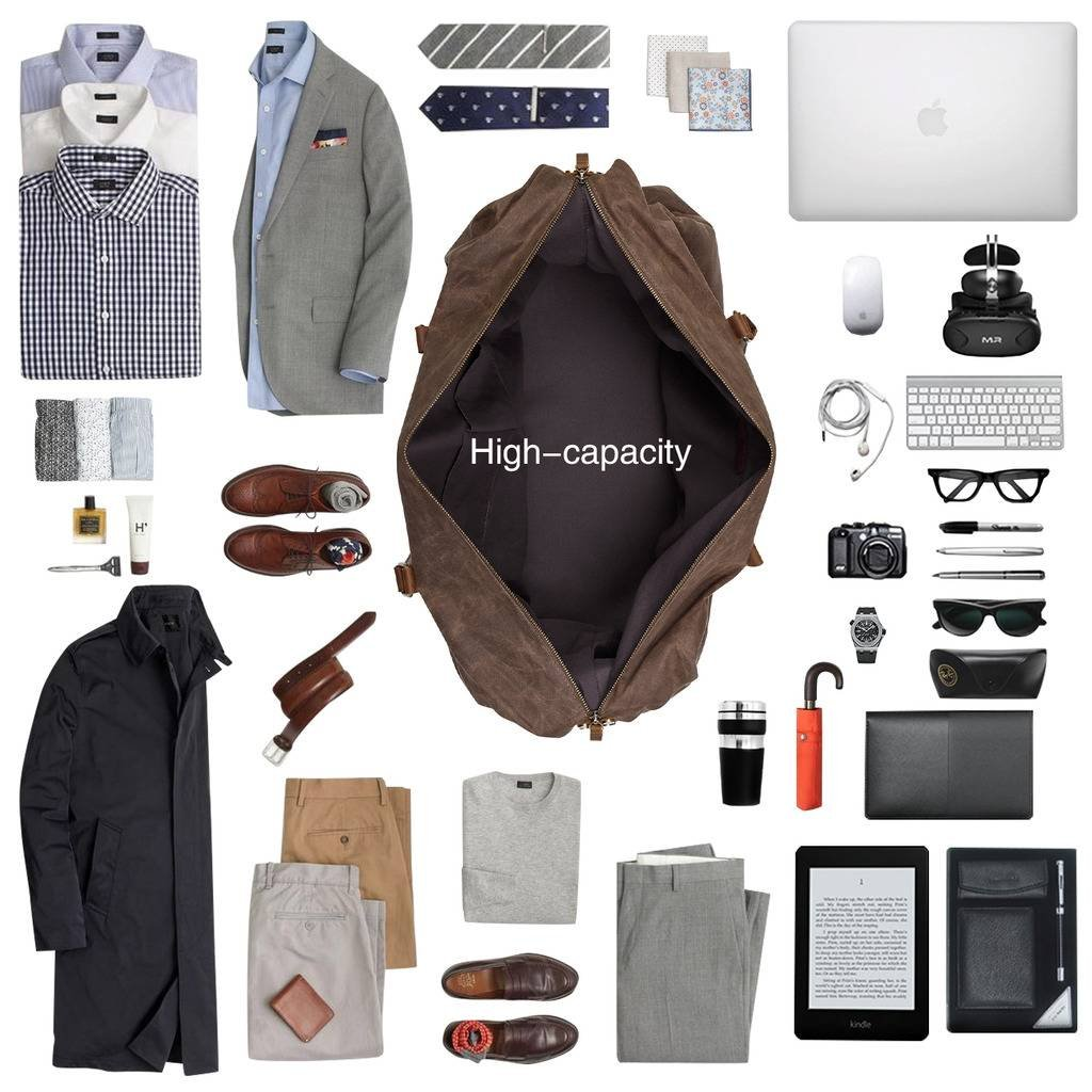 Plambag Oversized Duffel Bag, Waterproof Canvas Leather Trim Overnight Luggage Bag(Coffee) by Plambag (Image #5)