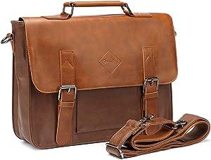 Zebella Men Vintage PU Leather Briefcase 15 inch Laptop Shoulder Messenger Bag Tote