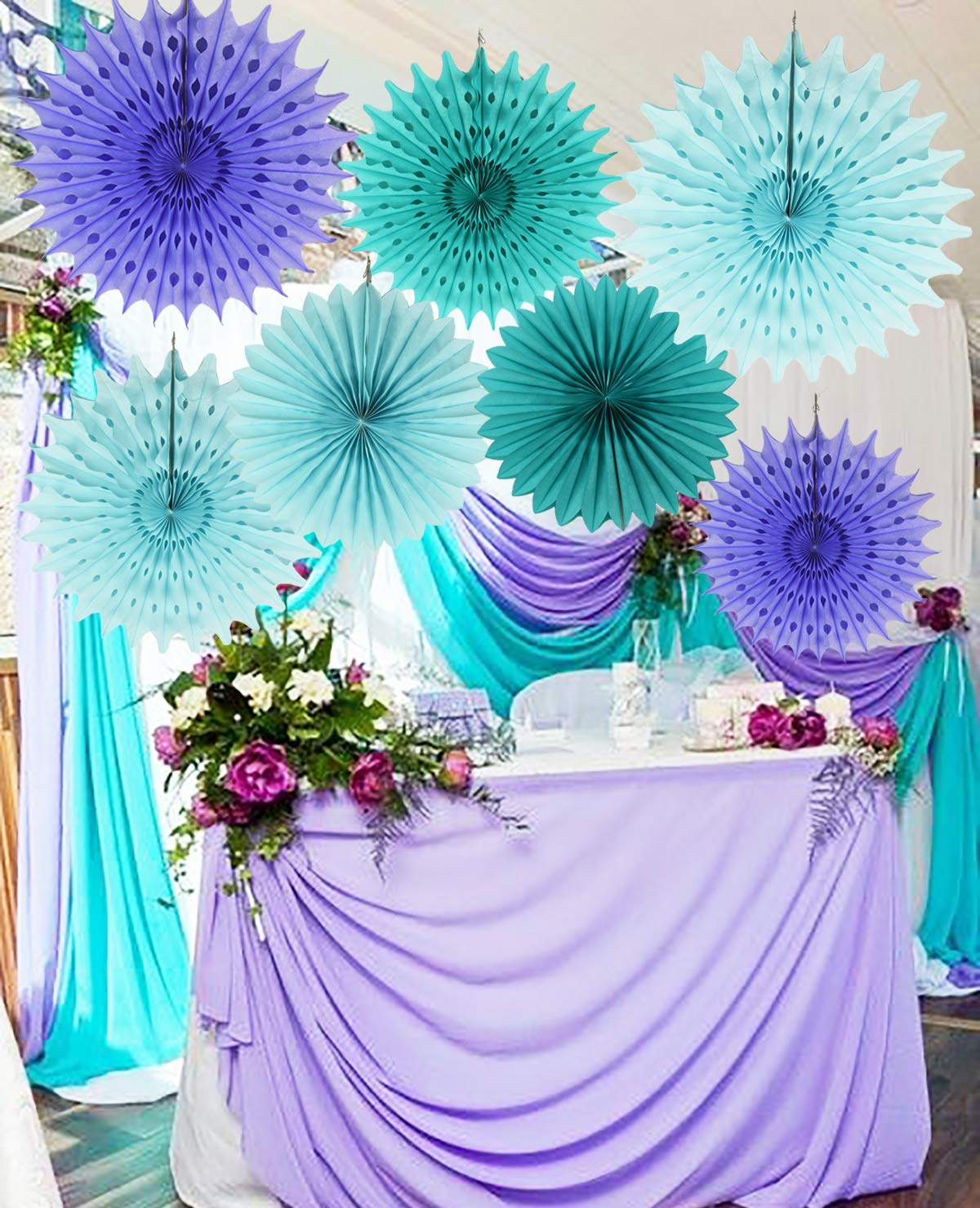 Mermaid Baby Shower Decorations Aqua Blue Teal Purple Tissue Paper Fan Summer Party Beach Tropical Under The Sea Pom