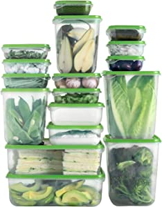 Shopwithgreen Reusable 17 Sets Plastic Food Storage Containers with Lids, (34 Pieces) Meal Prep Containers, Freezer Containers Organizers, BPA-Free, For Fruits, Vegetables, Baked Goods and Snacks