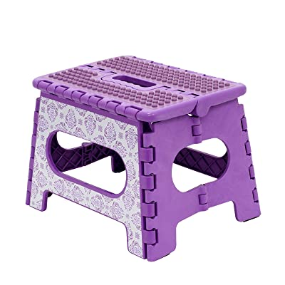 "WAVERLY by Home Expressions 9"" Folding Step Stool with TPR Silicone Top 12.5""x10""x9"" (Lilac Lola): Kitchen & Dining"