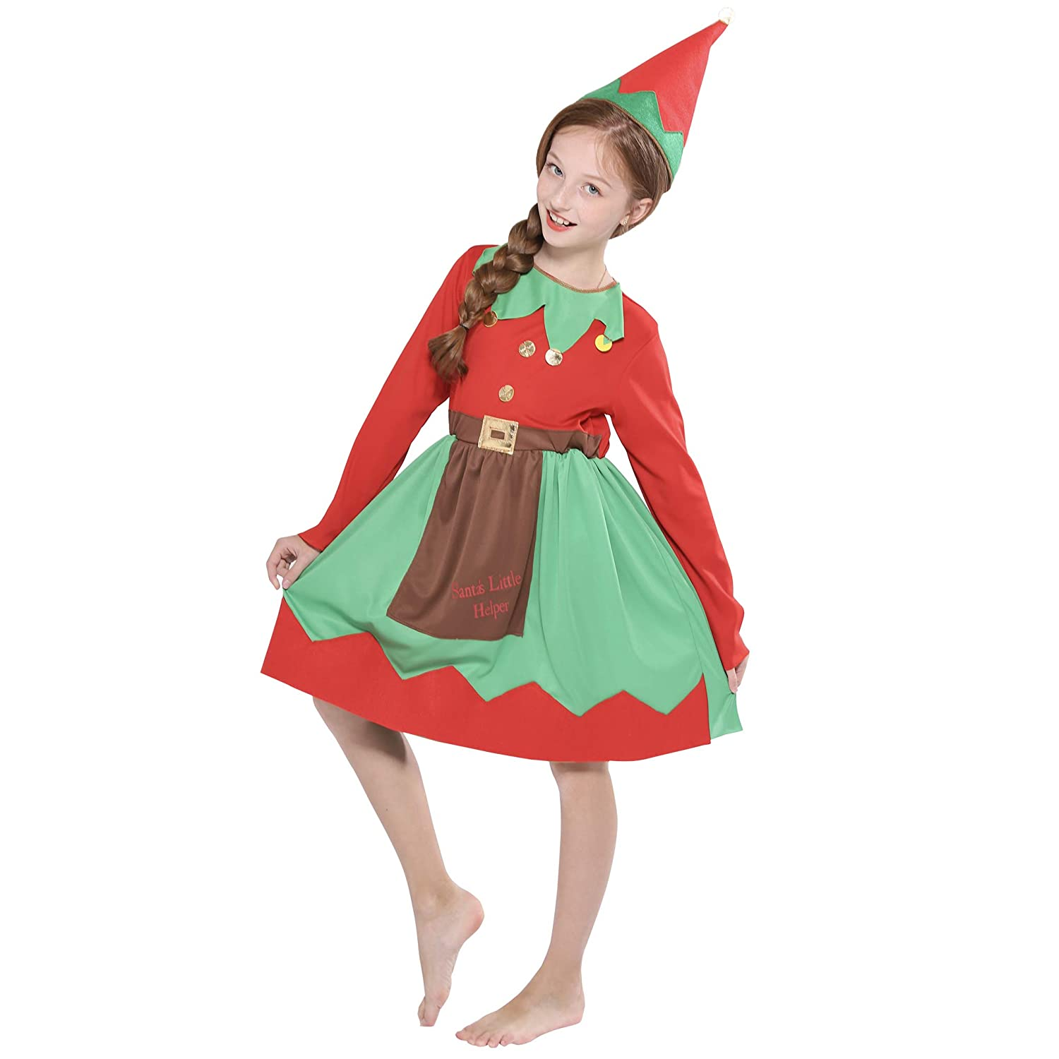 40e1f3a8ab36f Amazon.com: FantastCostumes Kids Girl Christmas Elf Costumes Party Fancy  Dress: Clothing
