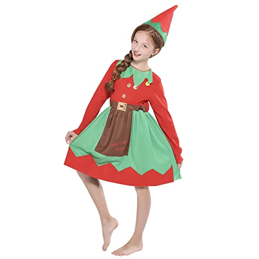 e72aa288f930 Image Unavailable. Image not available for. Color: FantastCostumes Kids Girl  Christmas Elf Costumes Party Fancy Dress