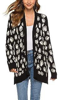 Amazon.com: Mujer Leopardo Cardigan Suéter de Punto Frontal ...