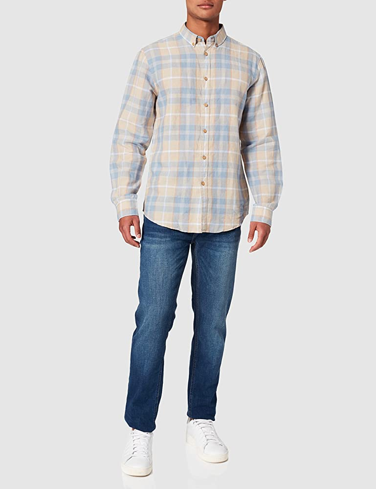 Springfield Camisa Cuadros, Azul Medio, S para Hombre: Amazon ...