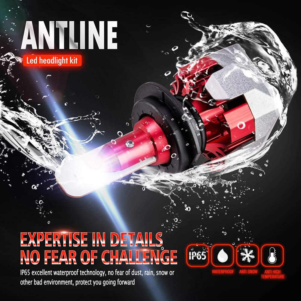 ANTLINE H4 9003 HB2 LED Headlight Bulbs Conversion Kit Xenon White Extremely Bright 6000 Lumen F6 CSP LED Chips for High//Low Beam Headlight Fog Light Bulb 6000K Pack of 2