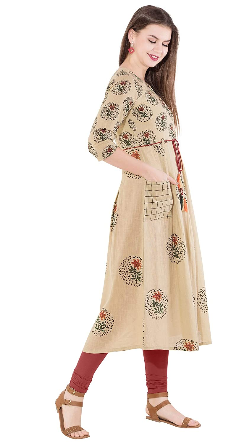 Beige Cotton Anarkali Kurti For Women