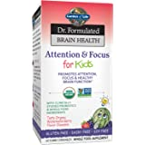 Garden of Life Dr. Formulated Attention and Focus for Kids, Supplement Promotes Healthy Brain Function, Concentration with Or