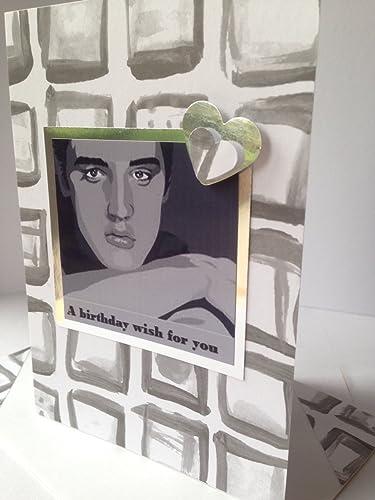 Elvis Presley Greetings Handmade Card American Singer Actor Grey