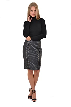Womens Leather Look Skirts Ladies Lace Up Zip PU PVC Pencil Skirt ...