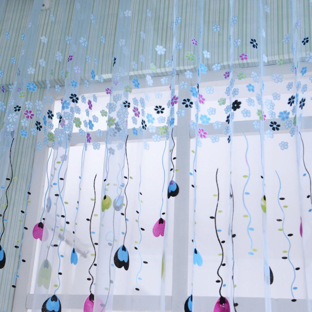 La Cabina Rideau Voilage Fen/être Ballon Tulle Voile Porte Rideau Drap/é Sheer Cantonni/ères 100*200 cm