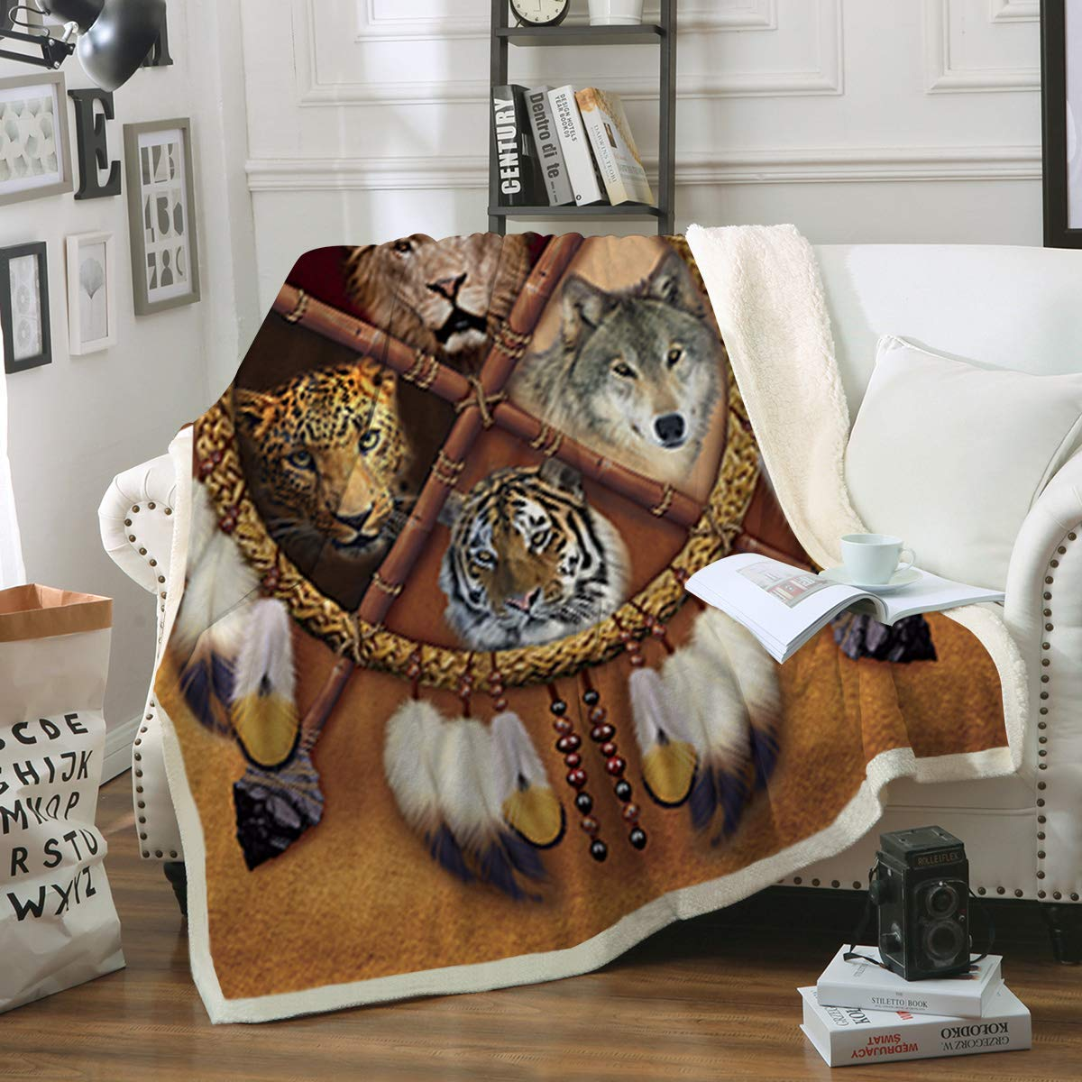 Sleepwish Wolf Dream Catcher Blanket Native American Animals Reversible Sherpa Throw Blanket Indian Gold Tribal Lion Tiger Leopard Fleece Blanket (60'' x 80'') by Sleepwish