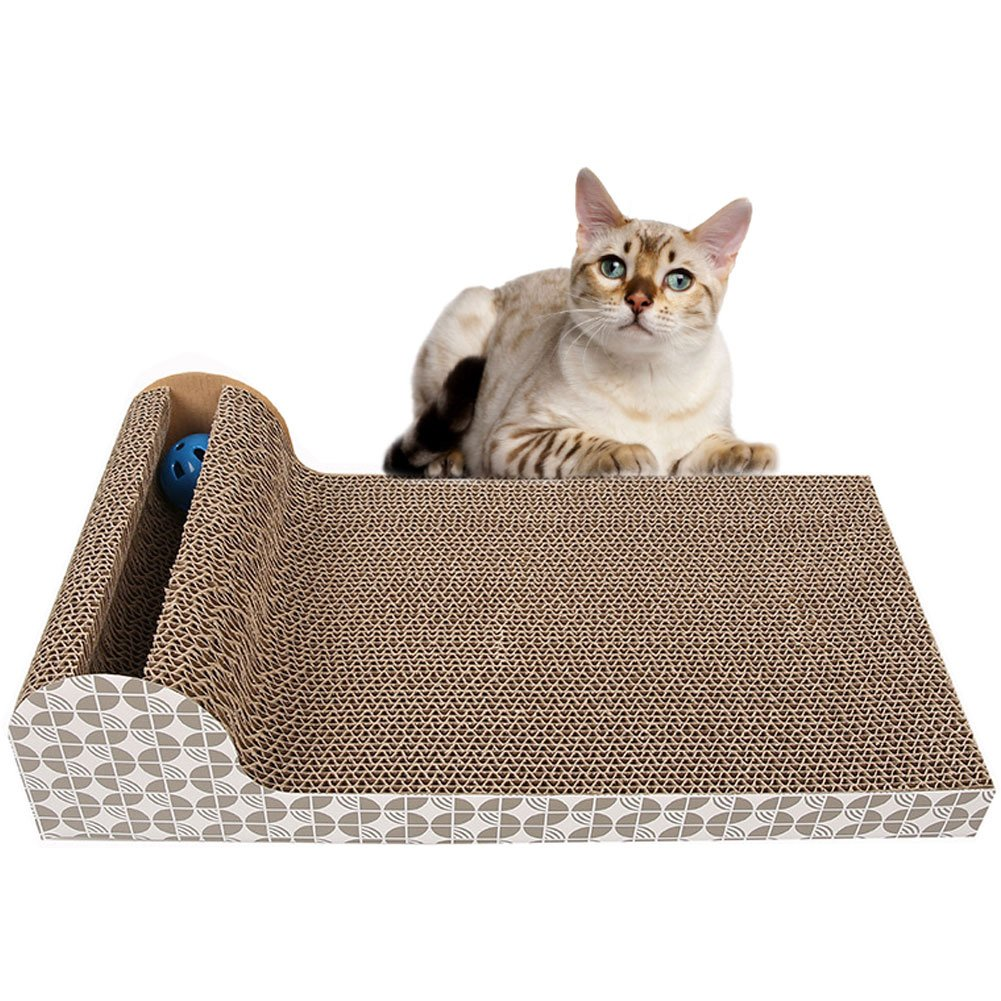 Old Tjikko Cat Scratch Pad,Scratcher with Catnip,Scratching Posts,Cat Toy Scratch Board Lounge with Bell-Ball (18.1''x 9.84'' x 4.33'')