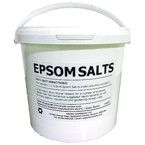 EPSOM SALT   5KG BUCKET   100% Natural   FCC Food Grade   Magnesium Sulphate
