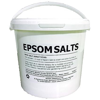 Cubo de sales de Epsom de 5 kg 100 % natural. Sal de grado alimentario
