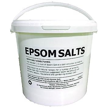 Cubo de sales de Epsom de 5 kg 100 % natural. Sal de grado alimentario FCC con sulfato de magnesio: Amazon.es: Belleza