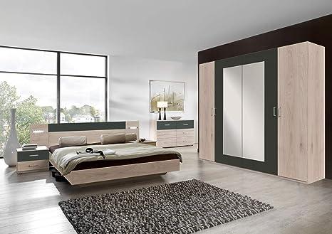 Lifestyle4living Schlafzimmer Komplett Set In Eiche Dekor Und Grau 4 Teilig Modernes Komplettset Mit Drehturenschrank Bett Und Nachtschranken Amazon De Kuche Haushalt