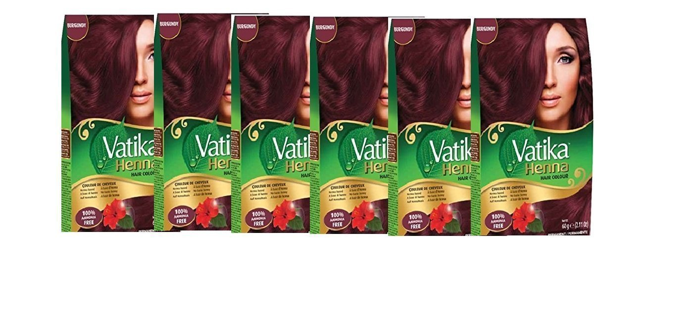 Vatika Henna Burgundy Hair Color Ammonia Free 6-pack (6 x 60 g / 6 x 2.11 oz) by Dabur