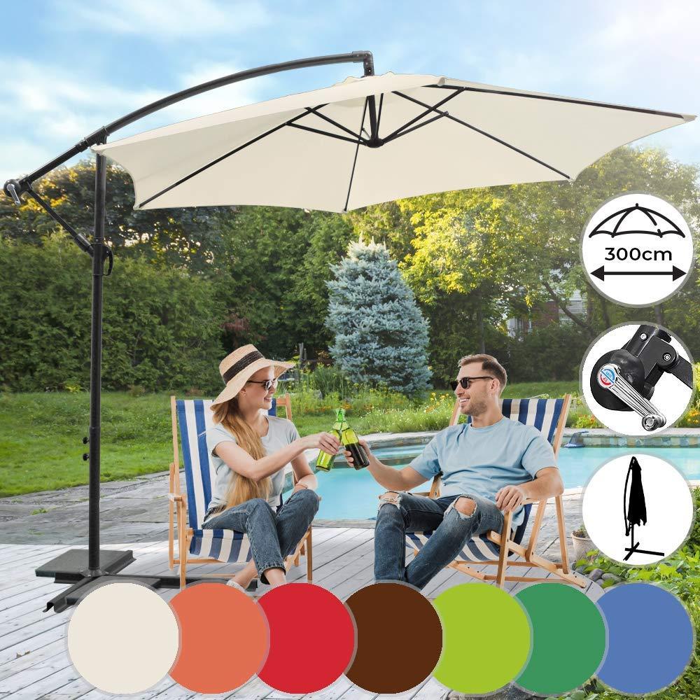 Decentrato Impermeabile Nova Ombrellone da Giardino Balcone Disponibile in 7 Colori /Ø 3m Girevole Esterno Parasole da Terrazzo