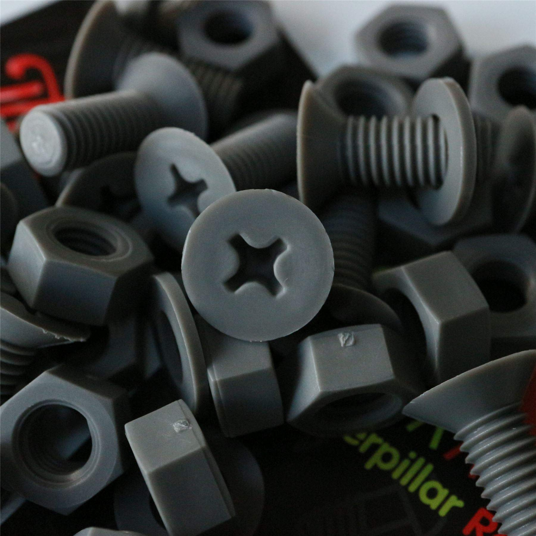 20 x Grey Countersunk Screws Polypropylene (PP) Plastic Nuts and Bolts, Washers, M8 x 20mm, Acrylic, Water Resistant, Anti-Corrosion, Chemical Resistant, Gray. 5/16 x 25/32''