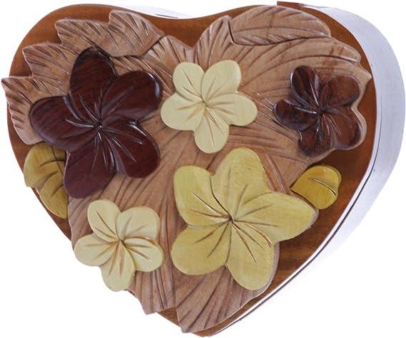 Caja de rompecabezas de joyería secreta ovalada de flores de madera hecha a mano - flores y corazón: Amazon.es: Ropa y accesorios