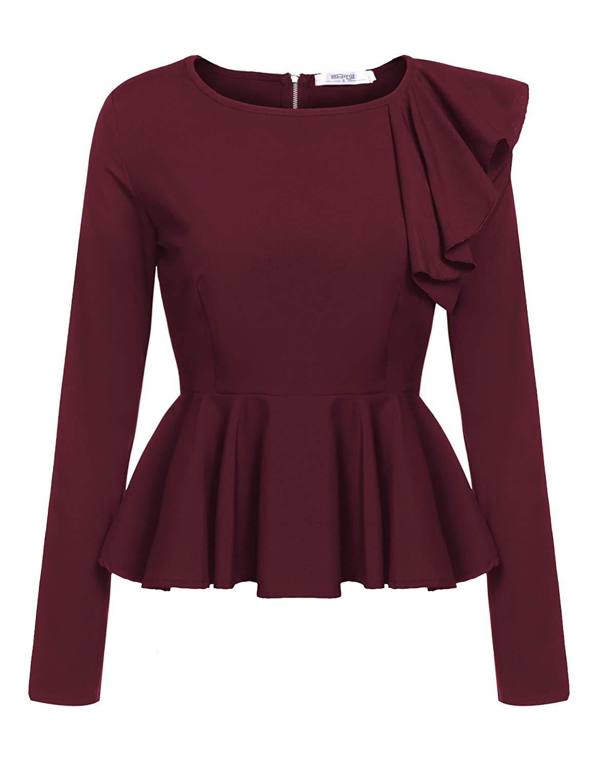Meaneor Womens Ruffles Peplum Long Sleeve Dressy Blouse Tops At