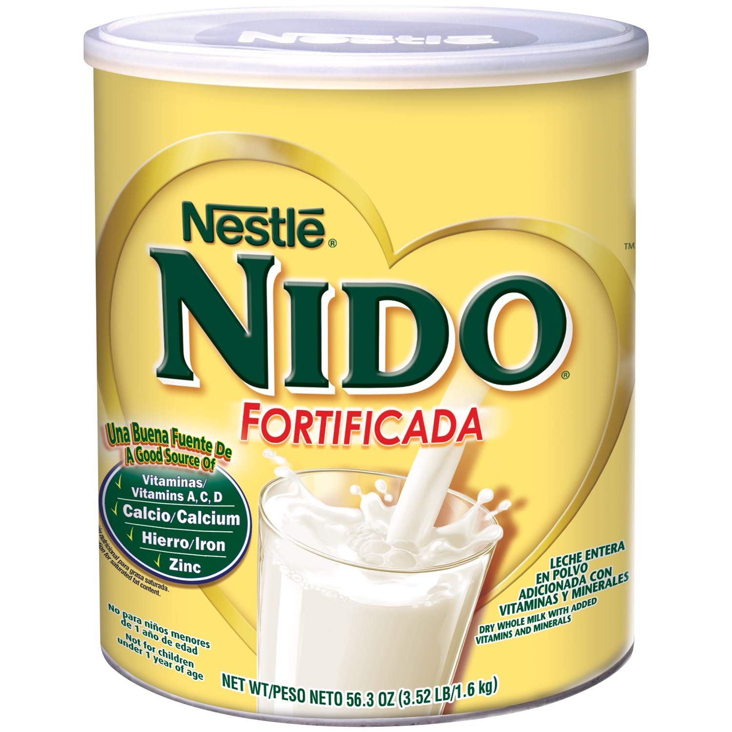 NESTLE NIDO Fortificada Dry Milk 56.3 Ounce. Canister (4 Pack)