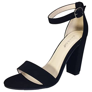 Amazon.com | Bamboo Women's Single Band Chunky Heel Sandal With ...