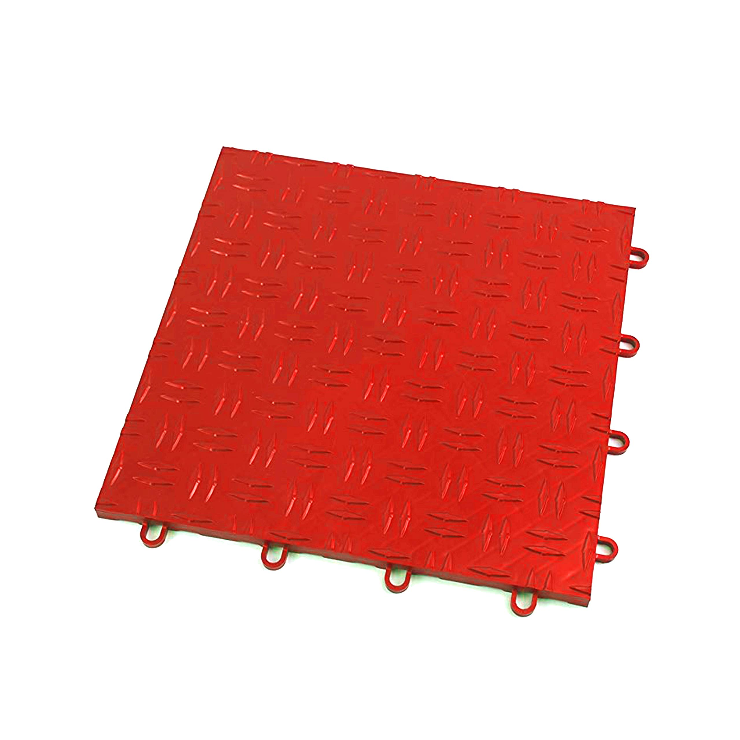 IncStores Diamond Grid-Loc Garage Flooring Snap Together Mat Drainage Tiles (48 Pack, Victory Red)