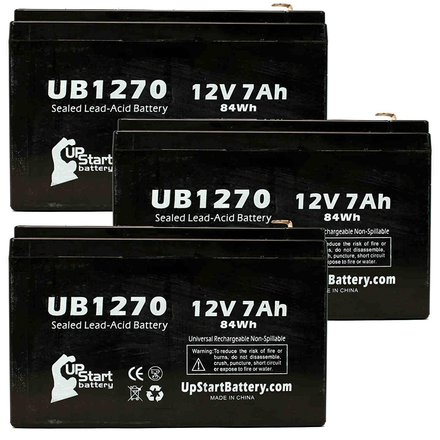 3x Pack - MK / East Penn ES7-12 Battery - Replacement UB1270 Universal Sealed Lead Acid Battery (12V, 7Ah, 7000mAh, F1 Terminal, AGM, SLA) - Includes 6 F1 to F2 Terminal Adapters