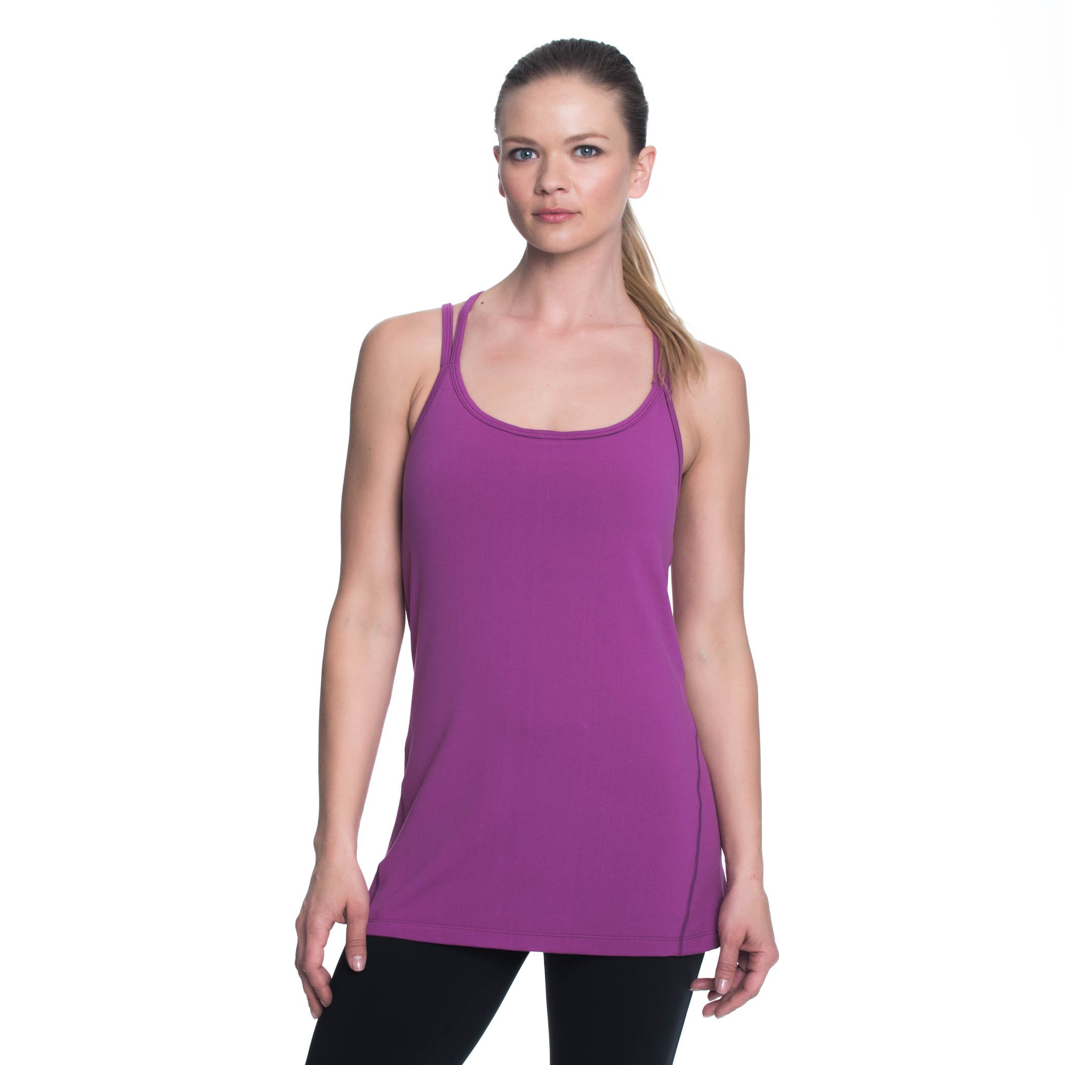 Gaiam Women's Lana Tank Top with Built in Medium Impact Wireless Bra - Purple Fine Wine, Medium