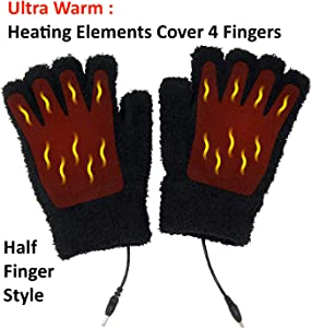 Obbomed MH-1020 USB 5V Composite Heating Element Warming Half Finger Stretchy Gloves – Connected to USB Port, PC, Laptop, Adapter for Power–Size : 7.5 x 5 inches, Black, Unisex,Universal Size