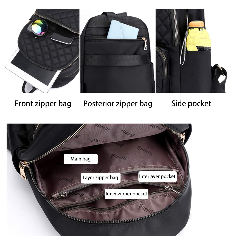 Backpack Ladies Daypack Nylon Waterproof Shoulder Bag Girl Anti-Theft Elegant Backpack (Black)