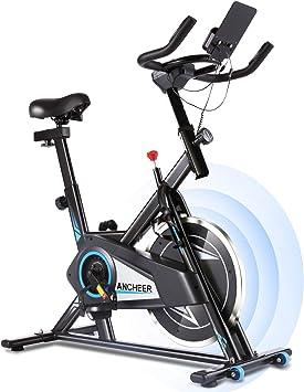 ANCHEER Bicicleta Estática de Spinning Bicicleta Interior Volante Inercia 10kg,Conexión con APP,Pantalla LCD, Sillín Ajustable, Carga máxima 120 ...